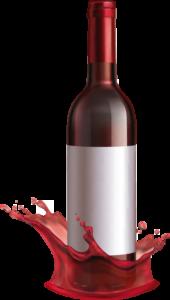 Rotwein Flasche spritzt auf den Boden